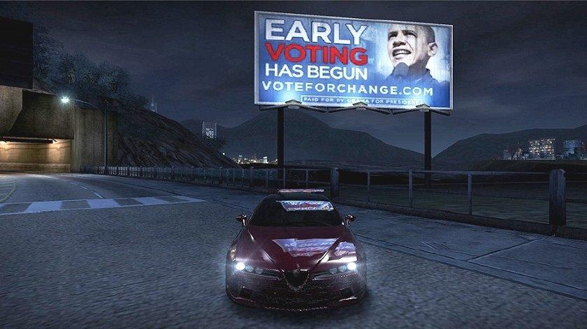 Uno dei cartelloni della campagna 2008, da Need for Speed Carbon